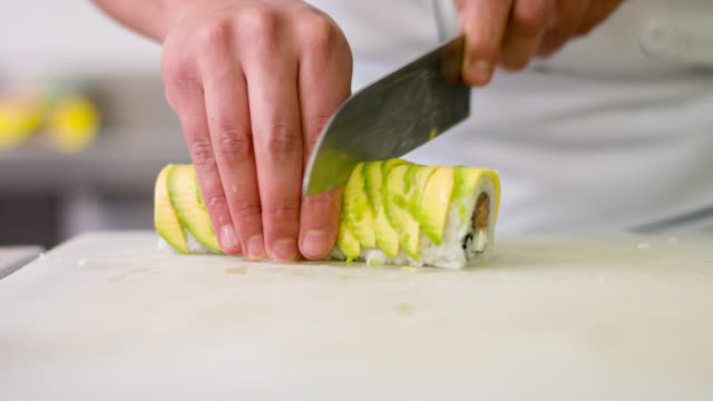 Chef cutting sushi video