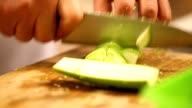 Chef cutting up zucchini video
