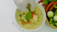 chef ,decoration on green curry chicken video