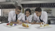 Chef instructor teaching her students how to decorate appetisers video