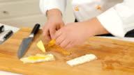 Chef is making fruit bruschettas video