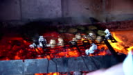 Chef is putting the fish and vegetables on the fire. video