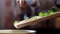 Chef makes salad. Shot on RED EPIC Cinema Camera in slow motion. video