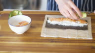 chef making sushi roll video