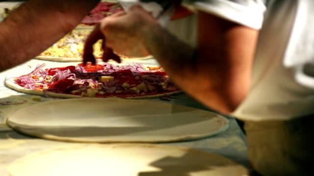 Chef Preparing Pizzas Close-up video