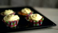 Chef put cupcakes tray on white table. Muffin cakes with white cream video