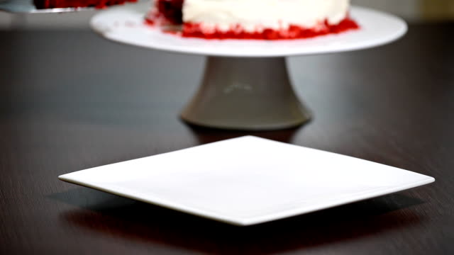 Chef putting cake slice on plate at cafe. video
