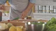 Chef seasoning roasted beef in kitchen video