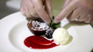 Chef serving delicious chocolate dessert with ice-cream video