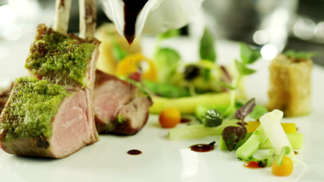 Chef Serving Delicious Lamb Meat with Vegetables. Close-Up. video