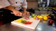 Chef slices onions video