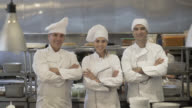 Chef, sous chef and cooking assistant looking at the camera video