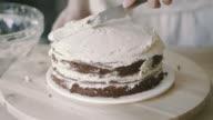 Chef spread cream on model cake video