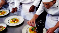 Chefs presenting salad on plate video