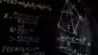 Chemical and mathematical equations wall room background focused and defocused action video