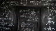 Chemical and mathematical equations wall room background paning video