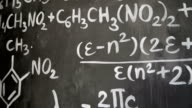 Chemical and mathematical equations wall room background video