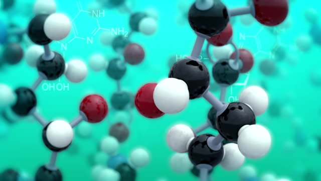 Chemical background. Turquoise version. Loop video