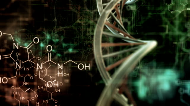 chemical background with rotating DNA video