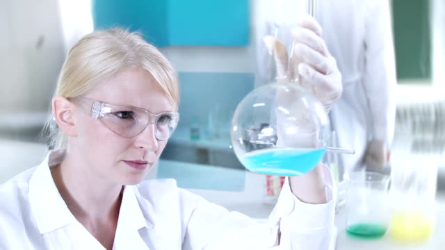 Chemical examinations in the laboratory. Clean version video