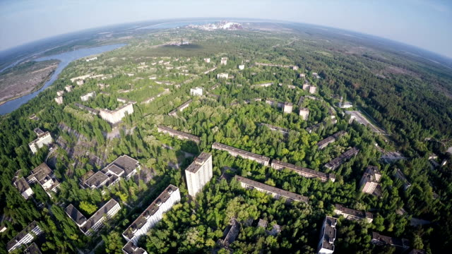 Chernobyl - Superwide Top Shot - Aerial Shot of the Town Pripyat video