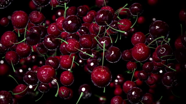Cherries with Water Drops. video