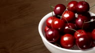 cherry close up wood background video