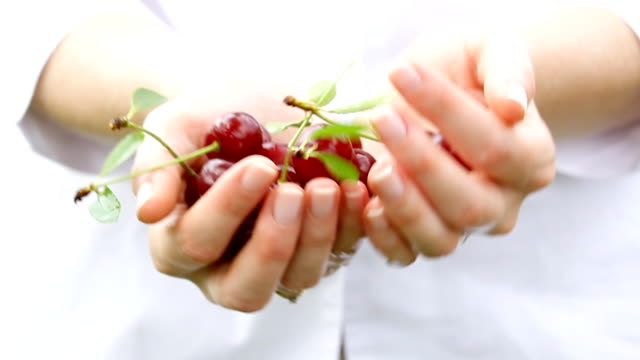 Cherry fruits in hands. video