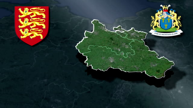 Cheshire white Coat of arms animation map video