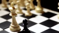 Chess black pawn and white king video