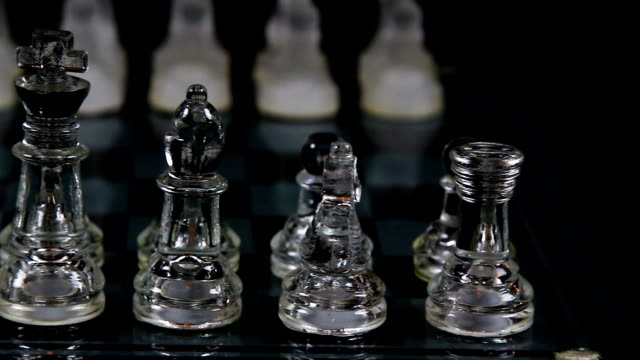 Chess Board Set Up In Starting Posistion With Camera Focused On Near Pieces video