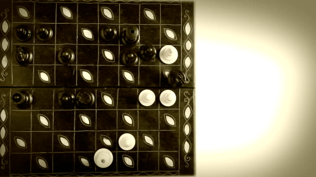 Chess Match Timelapse video old film effect video