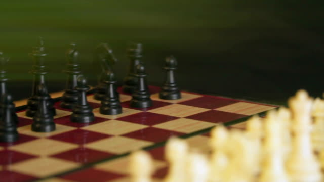 Chessboard with white and black chess video