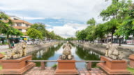 Chiangmai canal with elephant sculpture video