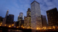 Chicago city syline dusk to night timelapse video