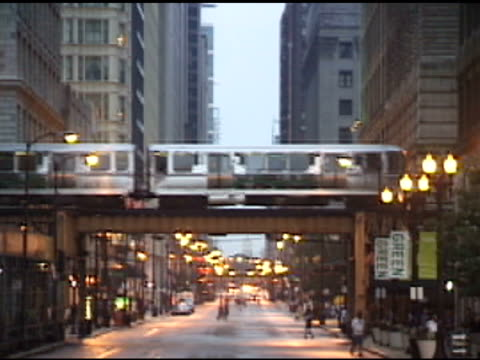 Chicago El-Train Over City Street video