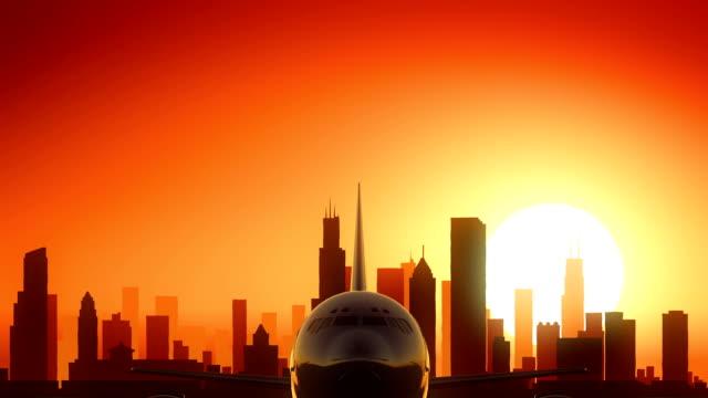 Chicago Illinois USA America Skyline Sunrise Take Off video