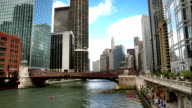 Chicago River and Skyscrapers video