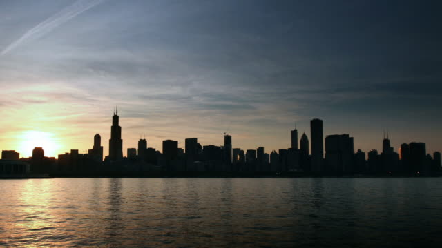 Chicago Skyline Nightfall Timelapse video