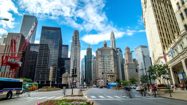 Chicago Traffic Time Lapse Clouds 4K 1080 video