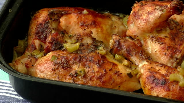 Chicken baked in the oven and celery video