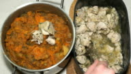 Chicken meat and vegetable ragout n a saucepan video
