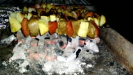 Chicken skewers and vegetables on coal video