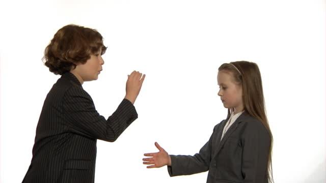 Child business handshake video