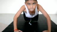 Child Doing Push-Ups At Home video