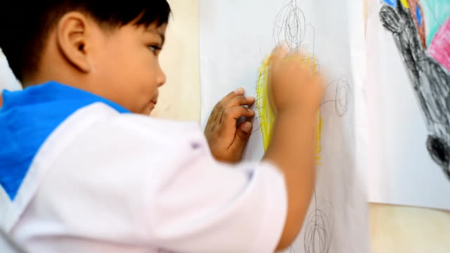 Child Drawing and Painting video