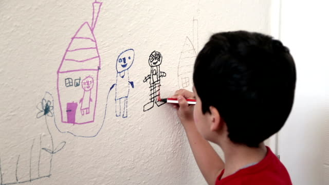 Child drawing wall video