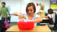 Child eats lunch at school video