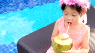 Child, Girl, Drinks Coconut Water at Swimming Pool video
