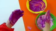 Child hand prints video
